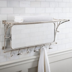 Grandin Road - Metal Towel Rack with Mirror - 100% brass towel rack with hooks and a tilting mirror. Antique silver finish. Six hooks include three a curved balls and three whale tails; all six tilt and slide along the track. Mounting hardware included. If you're searching for a stylish storage solution for the bath, our Metal Towel Rack is sure to fit the bill. This space saving rack features an overhead shelf suited for storing towels and baskets, a 2-ft.-wide pivoting mirror, and six hinged hooks that move along a track below.  .  .  .  .