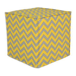 """Chooty - Chooty Zig Zag Ash-Corn Collection 17"""" Square Seamed Foam Ottoman - Insert 100 High Density Foam, Fabric Content 100 Cotton, Color Grey, Yellow, Hassock 1"""