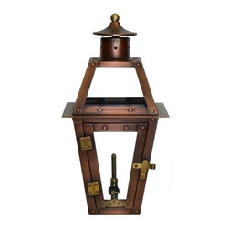 "Primo Lanterns - Primo Lanterns PL-15 Aged Copper Orleans Orleans 15"" Outdoor - Primo Lanterns PL-15 Orleans 15"" Outdoor Wall-Mounted Lantern in Natural Gas Configuration, with Valve Add Southern Charm and character to any outdoor area with a gas burning wall lantern from Primo Lanterns. Hand made from pure copper, these lanterns are antique-finished and clear-coated for a breathtaking appearance. The dancing pecan leaf flame will captivate with its splendor, and its warm glow will offer relaxing illumination wherever this lantern is located. Primo Lanterns PL-15 Features:  Hand made using pure 22 gauge raw copper Gas valves burn with a beautiful ""pecan leaf"" flame pattern visible from a distance Tempered glass panes Natural gas stem with on/off valve (Included) Wall bracket (Included)  Primo Lanterns PL-15 Specifications:  Height: 15"" Width: 8"" Extension: 10.25"" ANSI standards compliant for outdoor use CSA Designed Certified  Primo Lanterns PL-15 Additional Information:  Ships in as little as 24 hours Designed in Louisiana, made in China Propane conversion stem available Lanterns are designed to burn 24 hours a day, 7 days a week, for around $10-$15 per month Custom hangers and accessories available via special order, call for details  Supplying decorative gas fixtures for over 32 years, Primo Lanterns, and the charming illumination of gas lanterns, is sweeping the nation. What started in the great cities of the Southern United States has now spread to all four corners of the globe, and Primo Lanterns is proud to bring that to you. Each Lantern is CSA Certified and its timeless design, based on classic gas lanterns found throughout Louisiana, is sure to add that ""Southern Charm"" to any home. All lanterns include a standard wall mo"