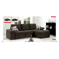 ESF Furniture - Contemporary Sectional Sofa with Pull Out Sofa Bed - ESF Furniture - This stunning Modern Sectional Sofa is an ultimate addition for those who value comfort along with style. This modern two-piece sectional is extremely functional due to the fold out sleeper that allows for a comfortable night of sleep.