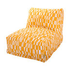 Majestic Home - Outdoor Citrus Sticks Bean Bag Chair Lounger - The progeny of a beanbag chair and a patio lounger, this casual kickback chair takes loafing to a new level, with a long seat for putting your feet up, an angled back for support and all that cushy beanbag filling to mold around your form. It comes with a fun, modern cover that's treated for outdoor use and easy to remove and clean. Perfect for the family room, media room, den or deck.