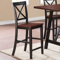 Coaster - Makelim Counter Height Stool, Black/Walnut - Set of 2 - Function is fashion with the Makelim collection. The rectangular-shaped table carries a black and walnut finish with natural distressing .The chair has clean lines, with a distinctive X back, sleek square tapered legs. Create a natural appearance in your home with this beautiful counter height table set.