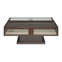Vanguard - Mathews Square Cocktail Table - Being practical doesn't mean you have to skimp on style. Featuring a sleek yet chunky profile, this table makes a bold centerpiece in your living room. Handy shelf space helps you keep clutter off its surface for a clean and tidy look.