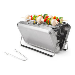 Inova Team -Contemporary Portable BBQ Grill - Get down to barbecue business with this portable grill that fits within the confines of a sleek stainless steel briefcase. Perfect for kabob enthusiasts on the go, this versatile design opens up to reveal a grill and charcoal pit, perfect for an al fresco meal for two. Just prop out the two adjustable legs, grill to your heart's content, wait for the piece to cool, and then take your grill wherever the smoky barbecue sauce takes you.