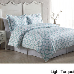 None - Kaleidoscope 3-piece Duvet Cover Set - This 3-piece duvet cover set features an eye catching kaleidoscope pattern that will bring a chic and modern look to your bedroom. The 100-percent cotton set includes a duvet cover and two pillow shams (one pillow sham for twin size).