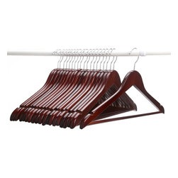 J.S. Hanger - J.S. Hanger®Multifunctional High-Grade Solid Wood Suit Hangers, Walnut, 20-Pack - Feature: