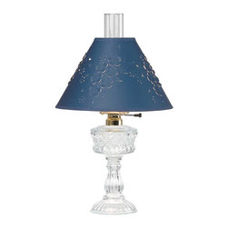 Renovators Supply - Table Lamps Clear Cut Glass Hurricane Lamp 20 1/2 H parch shade | 20763 - Table Lamps: Our Ornate Glass Table Lamp is the perfect accent piece for any room. This cut glass Hurricane-style lamp has a blue cut parchment shade & measures 20 1/2 in. high and the shade is 12 in. diameter.