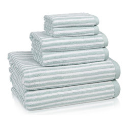 Kassatex - Kassatex Linea Collection 6-pc. Towel Set, Seafoam - Stripes add a little extra oomph to these velvety, cozy towels that look as good hanging from a hook as they feel drying you off after your morning shower. Available in a variety of soft, happy colors that add cheer to bath time.