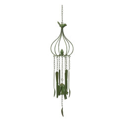 Utensils Green Wind Chime - *This wistful wind chime features a green color and pleasant light hearted sound. Perfect for any porch or patio to collect the wind and deliver peaceful sound with hanging kitchen utensils.