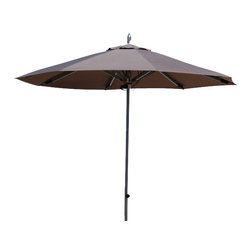 Les jardins - Easywind umbrella, Taupe, 11' - 11' Easywind aluminum umbrella with 38mm pole/ Taupe canopy, Solid aluminum bird finial/ silver color