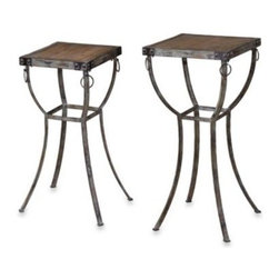 Uttermost - Uttermost Hewson Rustic Wood and Metal Plant Stands (Set of 2) - With styling reminiscent of the old west, pedestal stands for your indoor plants feature rivet and ring details supporting deeply grained natural wooden tops. Set includes two stands, one slightly smaller than the other.