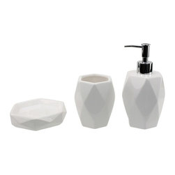 Gedy - 3 Piece White Pottery Bathroom Accessory Set - Stylish, trendy 3-piece bathroom accessory set which includes toothbrush holder, soap dispenser, and soap dish.