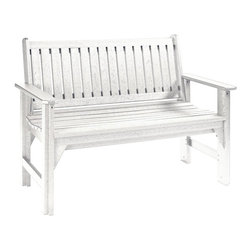 C.R. Plastic Products - C.R. Plastics Garden Bench In White - Can be used for residential or commercial use, Ergonomically designed, Heavy 78 gauge plastic lumber 12 used by competitors, All stainless steel hardware, No painting, No slivers, No Rot, Completely waterproof