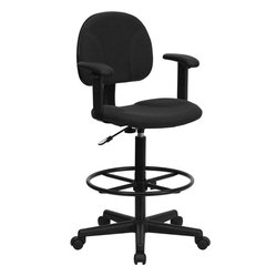 Black Patterned Fabric Ergonomic Drafting Stool with Arms (Adjustable Range 26