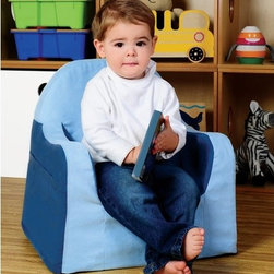 P'kolino - P'kolino Little Reader Kid's Club Chair - Fabulously Cozy, Supremely Stable, and Fashionably Funky! This sturdy toddler tag-a-long chair is optimized for little readers. Comfy foam, supple fabric, arm rests and book pockets creates the perfect environment for relaxing with a good book or just a little down time. The wide-base and strong angular lines make this chair not only attractive but also supremely stable (so it does not topple over like most foam chairs). It is feathery light so with the aid of the handle your little one can tote this chair to their favorite quiet spot. This durable chair is made with the highest quality materials. Constructed of premium high-density foam and upholstered in cozy, stain-resistant microfiber. P'kolino products meet and exceed US, EU, and Canadian safety standards. Features: -Stylish, stable and light weight cozy chair.-2 years and older.-Distressed: No.-Stain Resistant: Yes.-Upholstered Seat: Yes -Seat Upholstery Material: Micro-Fiber.-Seat Cushion Fill Material: High-Density Foam..-Age Recommendation: 2 to 6 years.Dimensions: -Overall Height - Top to Bottom: 18.-Overall Width - Side to Side: 18.-Overall Depth - Front to Back: 16.-Overall Product Weight: 6.