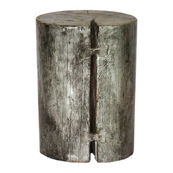 Madera Home - Silver Elm Wood Stump - This charming little stool is actually an original antique solid Elm wood stump that has been dramatically painted and lacquered in shimmering silver. Use it for extra seating, wherever you need it, as an end table or pedestal to hold flower arrangements and accessories.