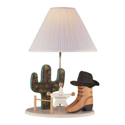 Lite Source - Lite Source Cowboy Kid Table Lamp X-60102BC3 - Perfect for old Western themes, cowboy themes, ranch themes and more, this Lite Source kids lamp features a cute base with a badge, boot, hat and cactus. The clean silver column and pleated white fabric shade is simple and versatile, adding to the appeal of this charming kids lamp.