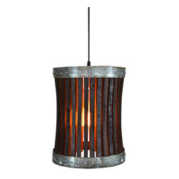 Wine Country Craftsman - CRAFTSMAN - Pannier - Wine Barrel Pendant Light - CRAFTSMAN - Pannier - Wine Barrel Pendant Light - 100% RECYCLED