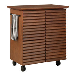 Home Styles - Home Styles Cascade Louvred Kitchen Cart - Home Styles - Kitchen Carts - 545495 - Pictorial of contemporary design the Cascade Kitchen Cart exhibits louver design elements with a touch of modern machinery. The Cascade Louver Kitchen Cart by Home Styles is constructed of hardwood solids and veneers in a warm oak finish.