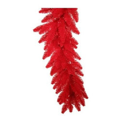 Vickerman 9 ft. Red Fir Pre-Lit Garland - Red Lights - Whether you're looking to spice up your Christmas or Halloween decor, the Vickerman 9 ft. Red Fir Pre-Lit Garland - Red Lights has got you covered. This garland is vivid red and comes pre-lit with matching red bulbs. At nine feet long, this garland is a breeze to hang or drape anywhere to make your home instantly festive. Durable PVC construction ensures lasting beauty. About VickermanThis product is proudly made by Vickerman, a leader in high quality holiday decor. Founded in 1940, the Vickerman Company has established itself as an innovative company dedicated to exceeding the expectations of their customers. With a wide variety of remarkably realistic looking foliage, greenery and beautiful trees, Vickerman is a name you can trust for helping you create beloved holiday memories year after year.