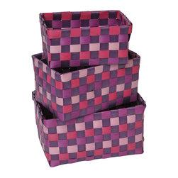 "Set of 3 Woven Strap Storage Totes Pp Fuchsia / Purple - This set of 3 woven strap storage totes is made of polypropylene. Perfect for your bathroom, home or office, these baskets give you a functional and stylish storage option. Wipe with a damp cloth. Small basket measures 5.90""L X 3.54""W X 2.76""H, Medium basket 6.69"" L X 4.33""W X 3.35""H, Large basket 7.48"" L X 5.12""W X 3.74""H. Color fuchsia and purple. This pretty set of woven strap tote baskets will complement your decor as well as being functional and will make a great addition to any closet or countertop! Complete your decoration with other products of the same collection. Imported."