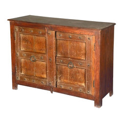 """Sierra Living Concepts - Camelot Reclaimed Wood Console Buffet Storage Cabinet - Make every day epic with our Camelot Double Door Console. This 44"""" small buffet has a large two shelf cupboard, so it's also great as a kitchen cabinet. The eco-smart sideboard is built with reclaimed wood from Gujarat and is naturally distressed."""
