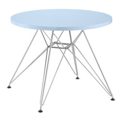 Zuo - Wacky Blue Table - There will be no more fighting over sitting at the grown-up table with this wacky blue kid's table. The colorful,playful wooden table top is supported by funky chrome legs and would be a perfect addition to a playroom or kid's room.