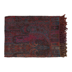 Autumnal Glow Throw - Made in India with care, this gorgeous throw is a sight to behold. Adding rich burgundy and eggplant hues to your room, the rug is woven with 50% cotton and 50% wool.