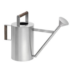 """Blomus - Verdo Stainless Steel Watering Can - Designed by: Fl�z Design Features: -Material: Stainless steel, wood. -Capacity: 6L. -Dimensions: 13.8"""" H x 18.1"""" W x 6.9"""" D."""