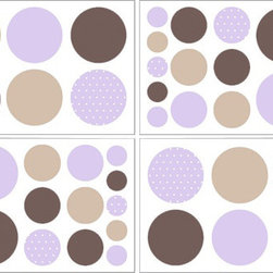 Sweet Jojo Designs - Mod Dots Purple & Chocolate Wall Decal Set of 4 Sheets by Sweet Jojo Designs - The Mod Dots Purple & Chocolate Wall Decal Set of 4 Sheets by Sweet Jojo Designs, along with the  bedding accessories.