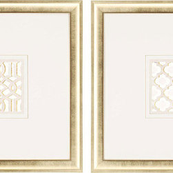 Paragon Decor - Gilded Lattice Set of 2 Artwork - Lattice patterned art features hand drawn gold lines and a gold finish frame.
