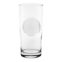 Rolf Glass - Seashell Cooler 15oz, Set of 4 - Tall and long and lovely, this set of glasses won't disappoint. You can use them for everything from lemonade to Mai Tai's. Made from cut glass. An iconic scallop-shell engraving will make you swear you're at the beach; listen: is that the ocean?