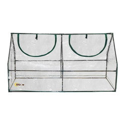 oGrow - oGrow®Outdoor Seed Starter Greenhouse Cloche - Ogrow Ultra Deluxe Compact Outdoor Seed Starter Greenhouse Cloche is the perfect solution for those smaller gardens that cannot accommodate a standard greenhouse. It has a strong powder coated steel frame and transparent PVC cover with zips for easy access and ventilation. Heavy duty cover construction ensures years of reliable use and won't fade or crack in sun. Connects with Hook and Loop connection vs. ties that other greenhouses offer thus giving you easier assembly and long lasting durability. Designed with special heavy duty high quality plastic connectors for easy assembly. The purchase includes clear setup and care instructions.