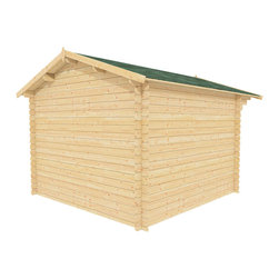 Joy 10 x 10 Wood Shed / Guest Cottage - ECO Garden Sheds. All natural wood 10 x 10 Tropical pool house / guest cottage -- Joy. 10 x 10 Wooden Shed with double door and long windows - Back view B.