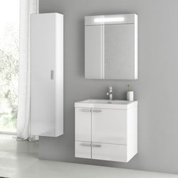ACF - 23 Inch Glossy White Bathroom Vanity Set - This Italian made vanity was designed for your master bathroom. Its is a four piece vanity set, each piece with a modern style. The set includes a vanity cabinet with two doors and one drawer, a ceramic bathroom sink, lighted medicine cabinet, and tall storage cabinet. This is a wall mounted set that comes in a glossy white finish. Set Includes:. Vanity Cabinet (2 Doors,1 Drawer). High-end fitted ceramic sink. Wall mounted medicine cabinet. Tall storage cabinet. Vanity Set Features . Vanity cabinet made of engineered wood. Cabinet features waterproof panels. Vanity cabinet in glossy white finish. Cabinet features 2 doors, 1 soft-closing drawer. Faucet not included. Perfect for modern bathrooms. Made and designed in Italy. Includes manufacturer 5 year warranty.