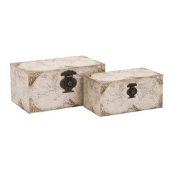 "Imax - Vintage World Map Boxes - Set of 2 - *Dimensions: 4.75-5.75""h x 5.25-7.25""w x 9.5-11.75"""