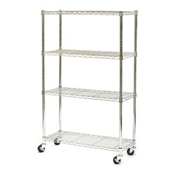 Seville Classics - Seville Classics 4-Shelf UltraZinc Steel Wire Shelving System on Wheels - Organize your home, office, warehouse, or storeroom with this zinc-plated steel wire shelving system. Mounted on wheels for easy maneuvering, this shelving system will lend a clean organizational element wherever you may need it.