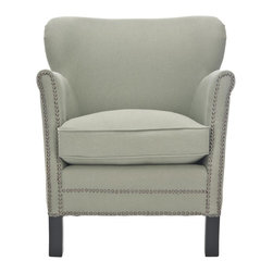 Safavieh - Heidi Arm Chair - The updated silhouette of the Heidi arm chair is designed for modern traditionalists who prefer rooms with a transitional spin. Heidi takes a graceful form, with its petite scale, delicate roll arms and curved wing-back, all upholstered in chic linen fabric in sea mist with clubby brass nail head trim. A plush seat cushion and straight birch legs complete the look.