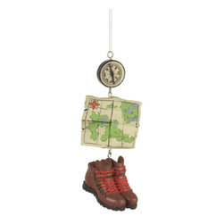 Midwest CBK - Hiking Boots, Compass & Map Christmas Tree Ornament - Holiday Gift Decoration - Hiking Dangle Christmas Ornament