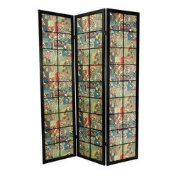 Oriental Furniture - 6 ft. Tall Kabuki Shoji Screen - Black - A black finish, Edo style large pane room divider with a pattern design of colorful kabuki actors in full costume. Display as an art screen, or to define space and provide privacy.