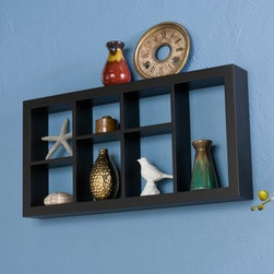 Taylor Display Shelf - The Taylor Display Shelf provides a modern, open face, shadowbox display style for a variety of decorative items. Seven spaces create a rectangle that attracts the eye and highlights any wall space. Available in black, white, or espresso finish options. Easy to install with no visible hooks or hangers.About SEI (Southern Enterprises, Inc.)This item is manufactured by Southern Enterprises or SEI. Southern Enterprises is a wholesale furniture accessory company based in Dallas, Texas. Founded in 1976, SEI offers innovative designs, exceptional customer service, and fast shipping from its main Dallas location. It provides quality products ranging from dinettes to home office and more. SEI is constantly evolving processes to ensure that you receive top-quality furniture with easy-to-follow instruction sheets. SEI stands behind its products and service with utmost confidence.