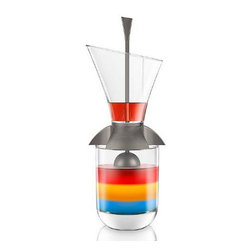 Inova Team -Cocktail Layering Tool - The Rainbow Cocktail Layering Tool prevents ingredients of different densities from mixing, for perfect layered drinks.