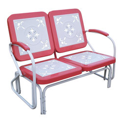 4D Concepts - 2 Seat Metal Retro Glider Chair in Red and Wh - Every piece is crafted of sturdy steel and features clean. Simply nostalgic over the cut-out details on all the seat and backrests. Built to be as comfortable as it is charming. Set features a glider for smooth to-and-for motion. Trimmed in a vibrant shade of Red to give this set a little fun. White finished frames and centers. 42 in. W x 27 in. D x 35.5 in. H (54 lbs.)