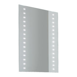 Vanita And Casa - Rectangular LED Light Mirror - This beautiful vanity mirror has two rows of LED on the vertical sides of the mirror.