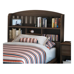"South Shore - South Shore Newton Twin 39"" Bookcase Headboard in Moka Finish - South Shore - Headboards - 2779098 - This 39"" (Twin) Shaker-style headboard features several open storage compartments and a hole to pass cables through to keep everything neat and tidy. The headboard's decorative laths echo the design of the mirror from this collection. Attaches to twin mate's bed to make a complete bed."