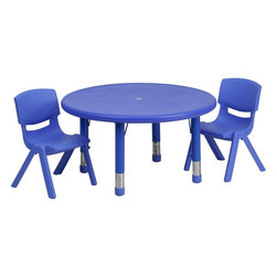 "Flash Furniture - 33"" Adjustable Blue Plastic Activity Table Set with 2 School Stack Chairs - This table set is excellent for early childhood development. Primary colors make learning and play time exciting when several colors are arranged in the classroom. The durable table features a plastic top with steel welding underneath along with height adjustable legs. The chair has been properly designed to fit young children to develop proper sitting habits that will last a lifetime."