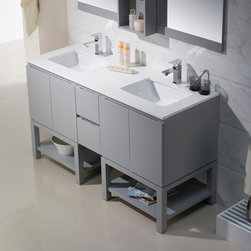 Modern Bathroom Vanities - The Emmet collection is a celebration of modern and elegant design. The open shelf will transform an ordinary bathroom into your own personal everyday spa. It features an abundance of soft close drawers to keep those small toiletries handy. Add chic style to your home with the sleek look of the Emmet collection.