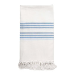 Turkish Towel, Blue - Turkish fouta towels with generous proportions are perfect for guest bedrooms. They're super soft, elegant and ultra absorbent, and they fold compactly.