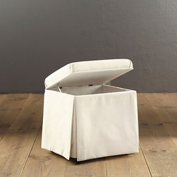 Ballard Designs - Hamper Stool - A clever innovation for your bath or dressing room, our two-in-one design offers a padded vanity seat. Lift the hinged lid, and the ventilated interior stores laundry or personal care items. Wooden frame rests on casters. Spot clean.