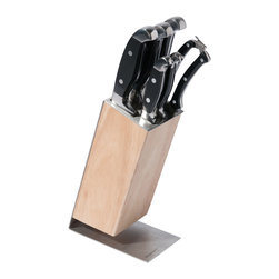 "Berghoff - Berghoff Studio Knife Block Forged 7-Piece - Set includes: 8"" chef's knife, 8"" bread knife, 8"" carving knife, 4.75"" utility knife, 3.25"" peeling knife, 10"" poultry shears and wooden block."